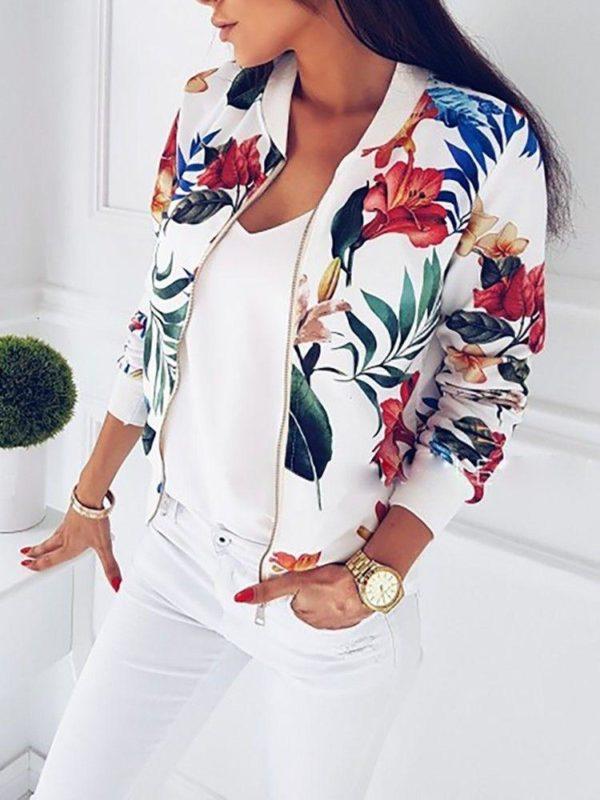 Veste casual à fleurs Minute Mode Blanc L