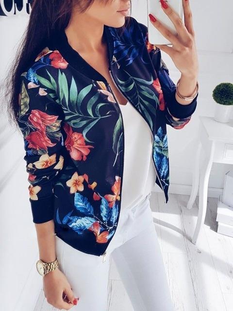 Veste casual à fleurs Minute Mode Bleu marine L