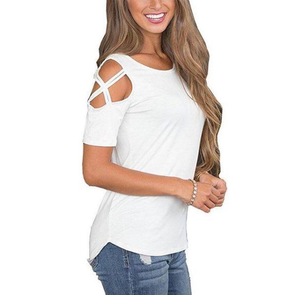 T-shirt Epaules Dénudées Minute Mode Blanc XXL