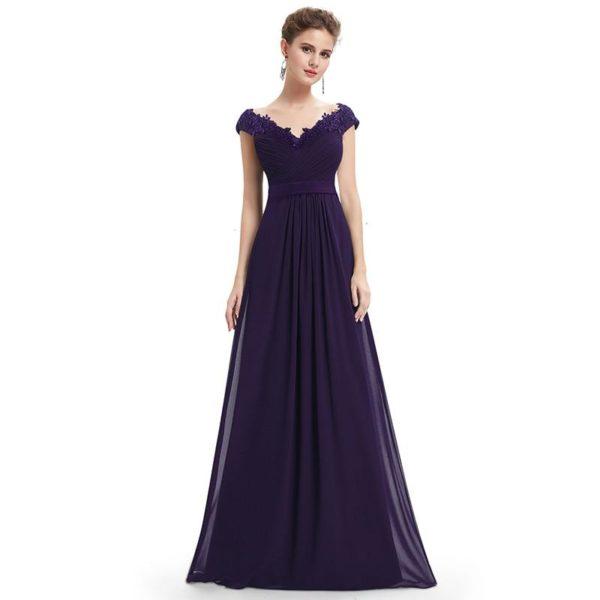 Longue Robe Elégante en Col V Minute Mode Violet 50