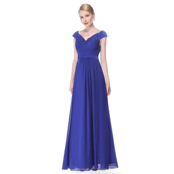 Longue Robe Elégante en Col V Minute Mode Bleu 50