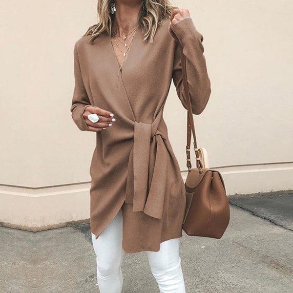 Cardigan Léger à Nouer Minute Mode Camel S