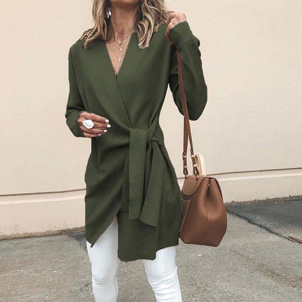 Cardigan Léger à Nouer Minute Mode Vert S