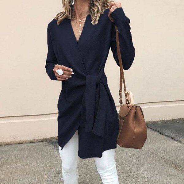 Cardigan Léger à Nouer Minute Mode Bleu S