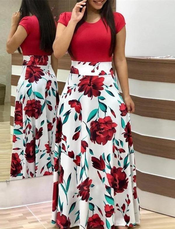 Robe longue Florale Minute Mode Rouge S