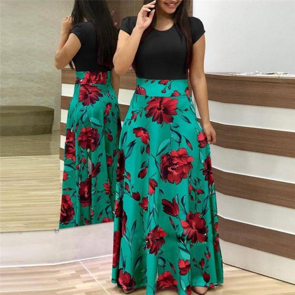 Robe longue Florale Minute Mode Noir et Vert S