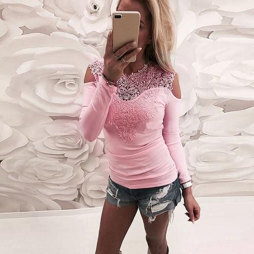 Blouse Dentelle - Épaules dénudées Minute Mode Rose S