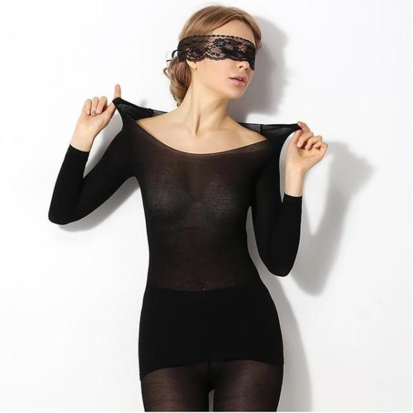 Ensemble de Sous-vêtements Thermiques Sans Couture (2 pièces) raton-malin Noir