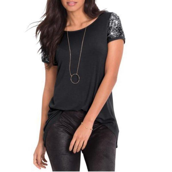 Blouse Manches Sequins Minute Mode Noir L