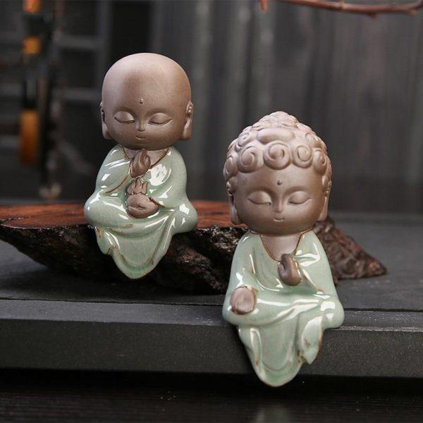 Petite Statue Bouddha en Céramique Raton Malin