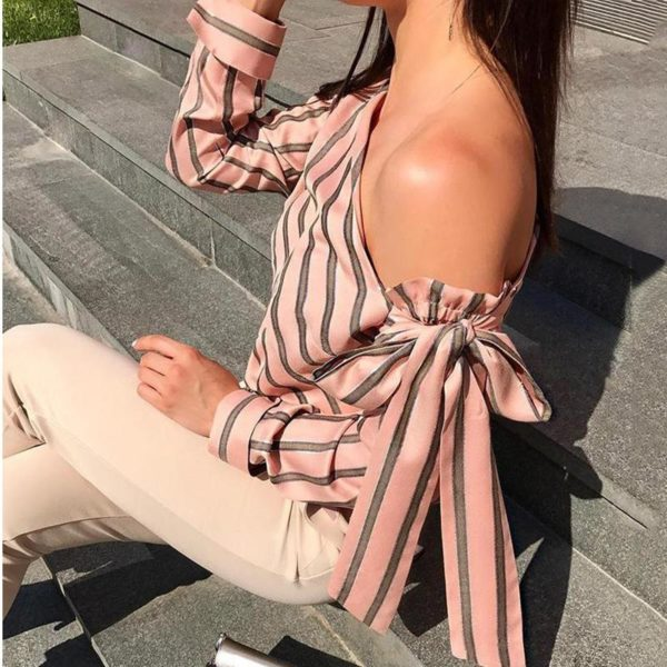 product image 900799565 Blouse One Shoulder À Rayures