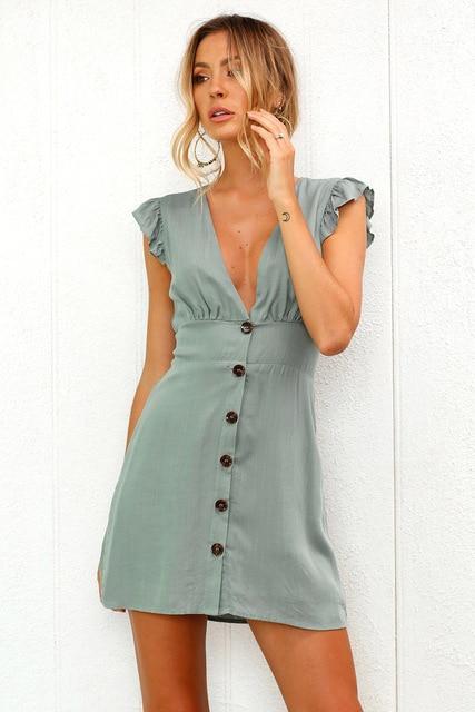 Petite Robe Décolletée à Boutons Minute Mode Vert S