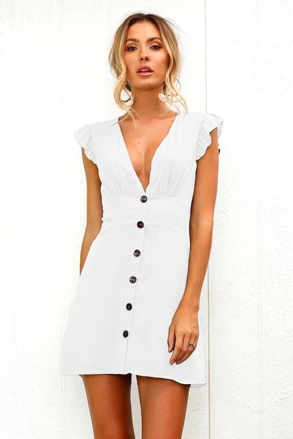 Petite Robe Décolletée à Boutons Minute Mode Blanc S