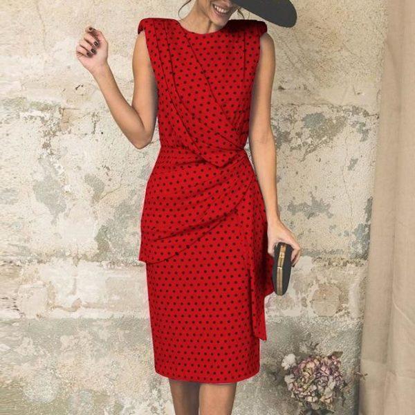 Robe Moderne à Pois Minute Mode Rouge L