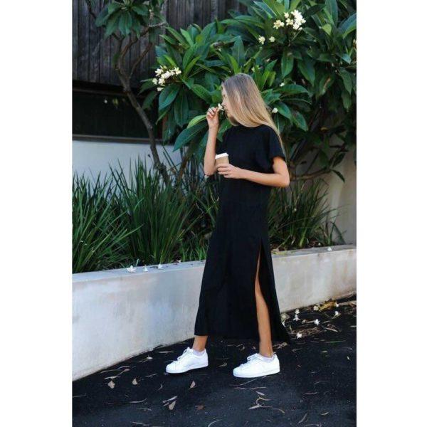 Robe longue T-shirt Minute Mode Noir L