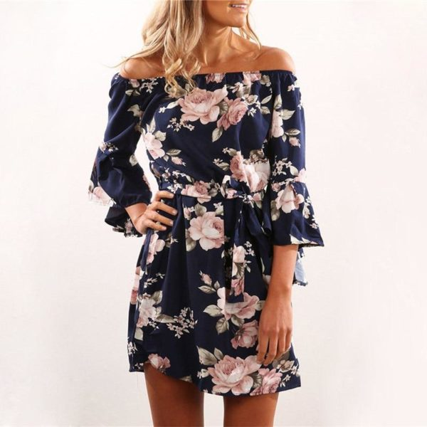 Robe Florale Épaules Dénudées Minute Mode Bleu S