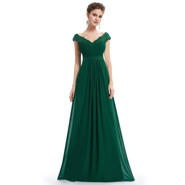 Longue Robe Elégante en Col V Minute Mode Vert 50