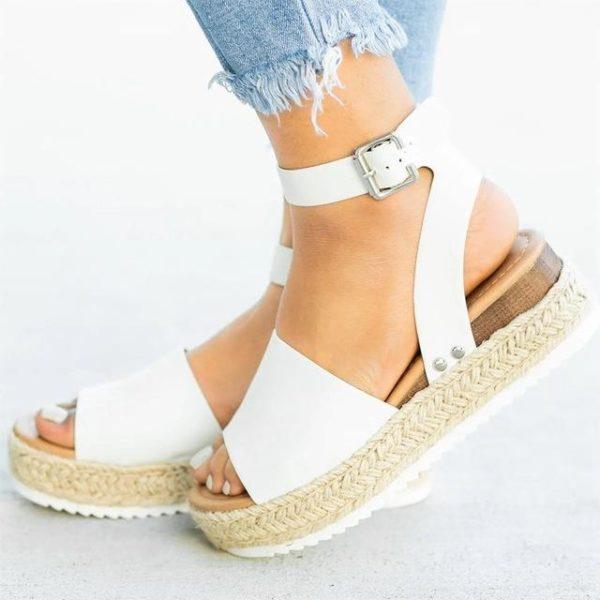 Sandales Plateforme Effet Corde Minute Mode Blanc 35