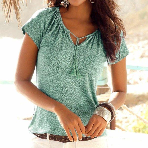T-Shirt Boho à Cordons Minute Mode Vert S