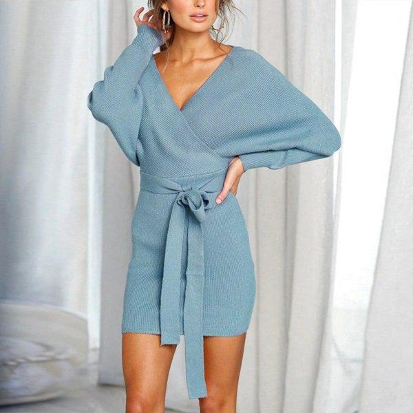 Robe pull moderne Minute Mode Bleu clair L