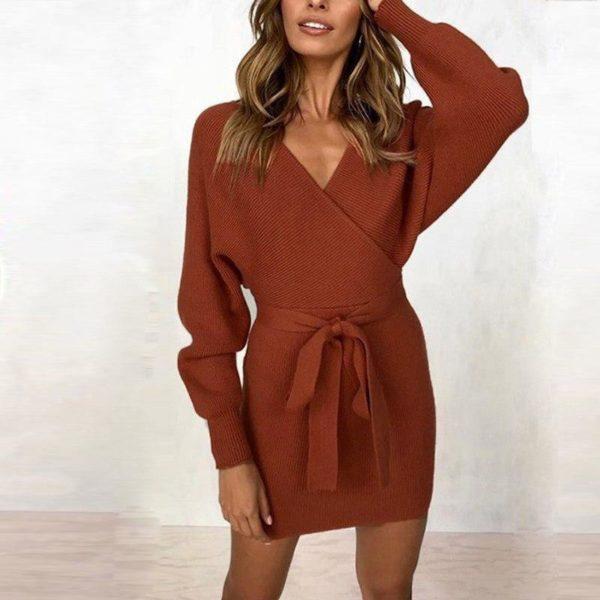 Robe pull moderne Minute Mode Caramel L