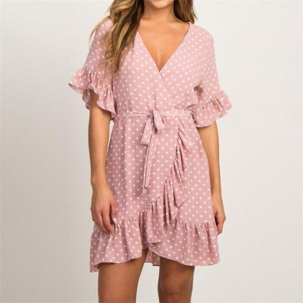 Petite robe à pois et à volants Minute Mode Rose L