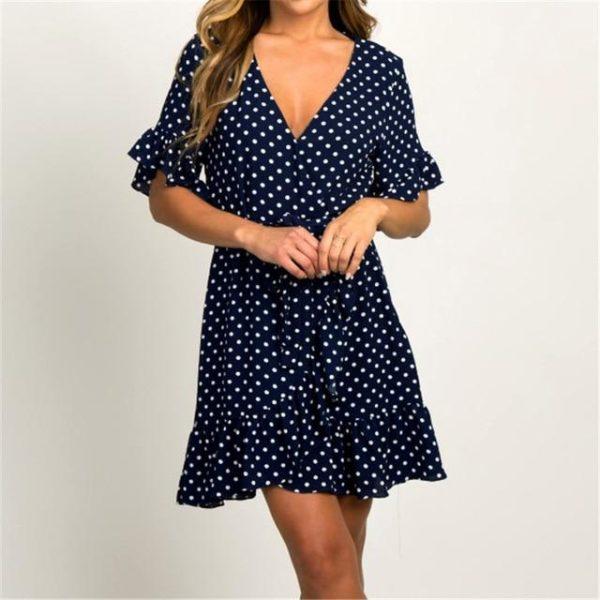 Petite robe à pois et à volants Minute Mode Bleu marine L