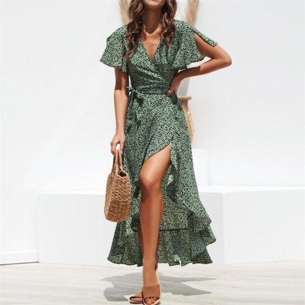 Robe longue imprimée Minute Mode Vert L