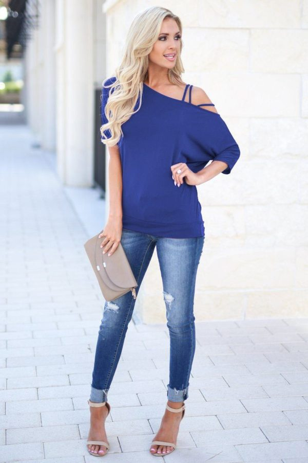 Blouse Tendance Bardot Minute Mode Bleu L