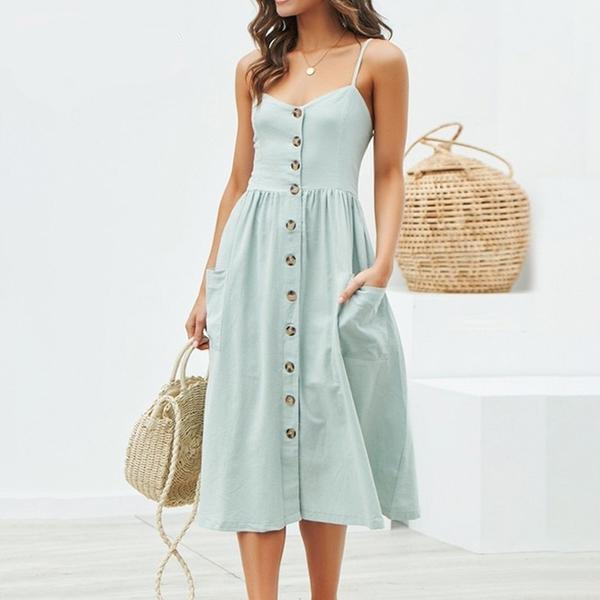 Robe longue à boutons Minute Mode Bleu L