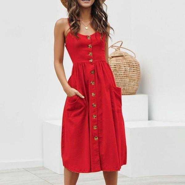 Robe longue à boutons Minute Mode Rouge L