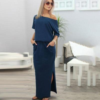 Maxi Robe Bardot Minute Mode Bleu marine S