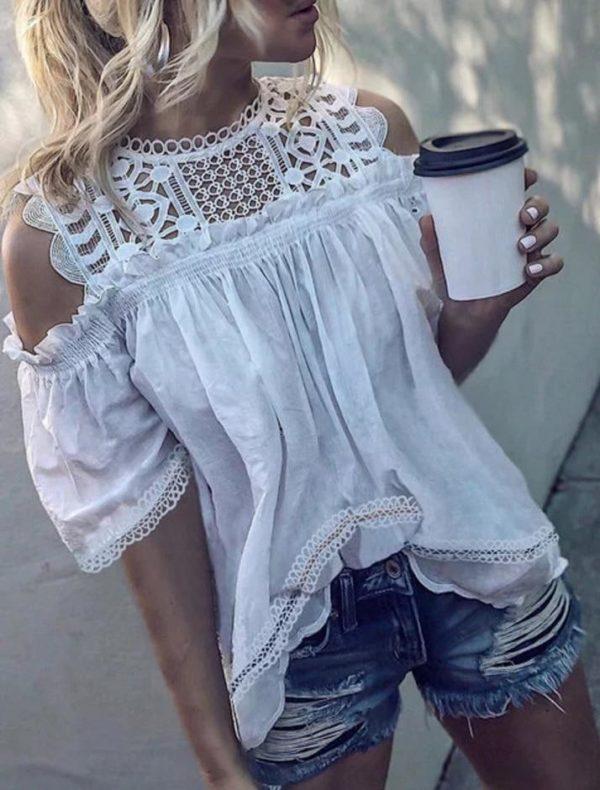 Superbe Haut Épaules Dénudées Minute Mode Blanc XXL