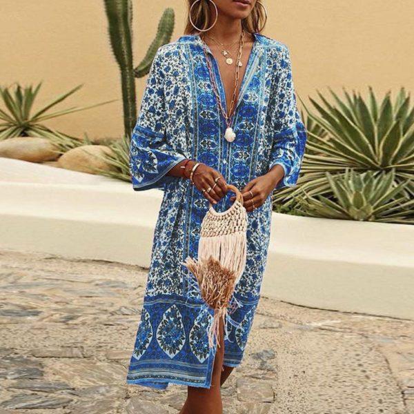 Robe Légère Bohémienne Minute Mode Bleu S
