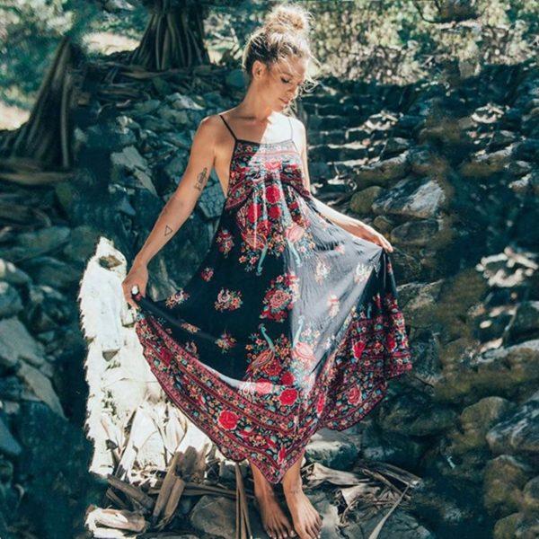Robe Florale Bohème Minute Mode Noir/Rouge S