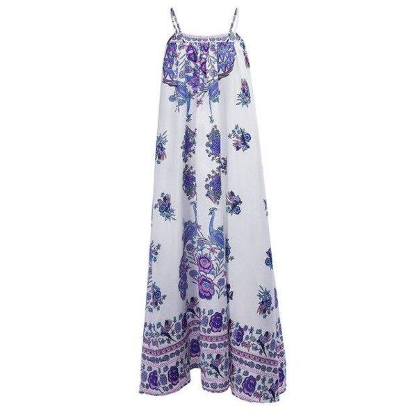 Robe Florale Bohème Minute Mode Bleu/Blanc S