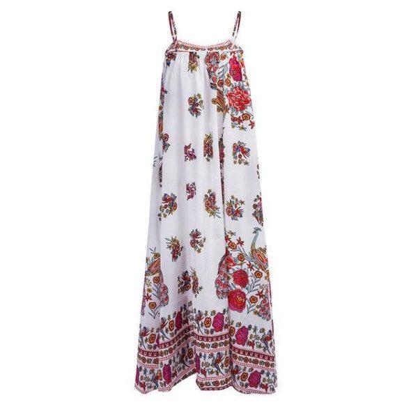 Robe Florale Bohème Minute Mode Rouge/Blanc S