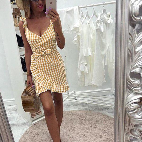 Petite robe à carreaux Minute Mode Jaune L