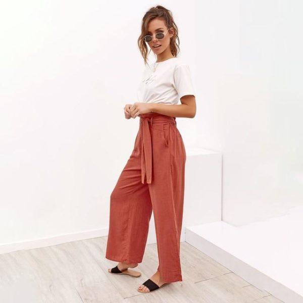 Pantalon Lazy à Cordon Minute Mode Orange L