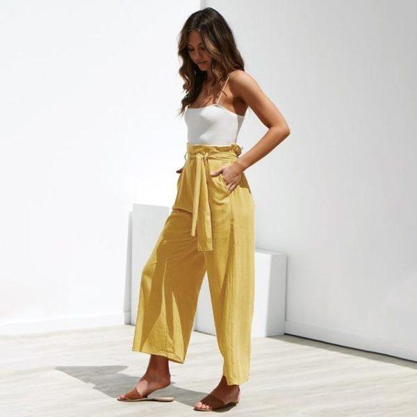 Pantalon Lazy à Cordon Minute Mode Jaune L