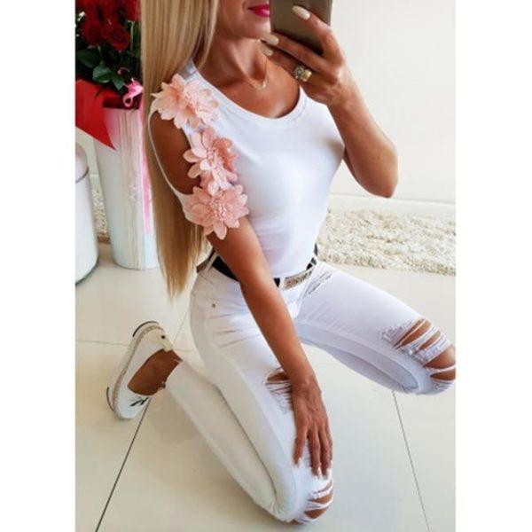Blouse Manches Fleuries Minute Mode Blanc L