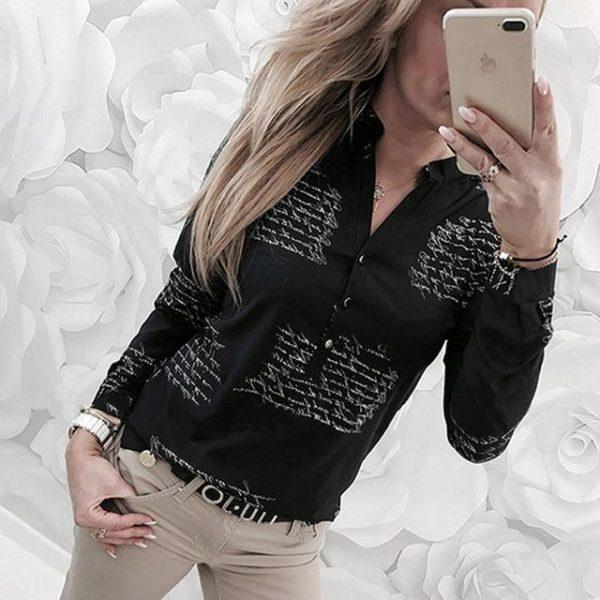 Chemisier Féminin Imprimé Minute Mode Noir XXL