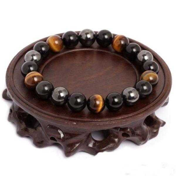 raton 4 Bracelet De Protection En Œil De Tigre, Hématite Et Obsidienne Noire