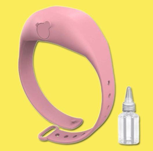Bracelet Distributeur de gel désinfectant pour les mains - Hygièna™ Raton Malin Rose