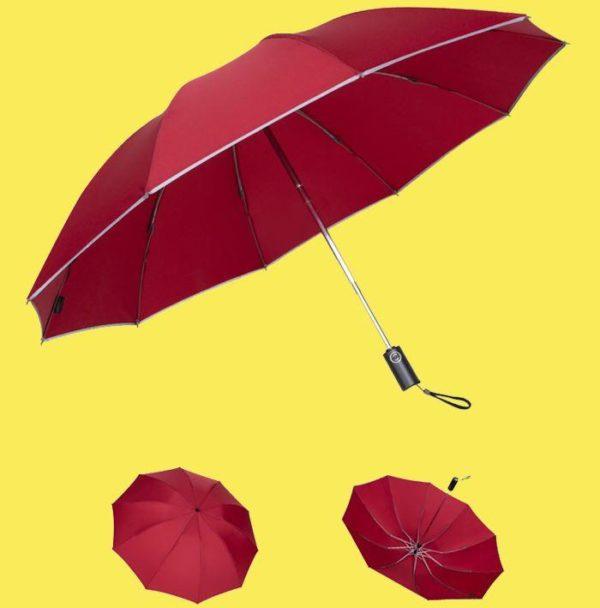 Parapluie Inversé Avec Bande Réfléchissante - BrelaPlus™ Flash Ventes Rouge