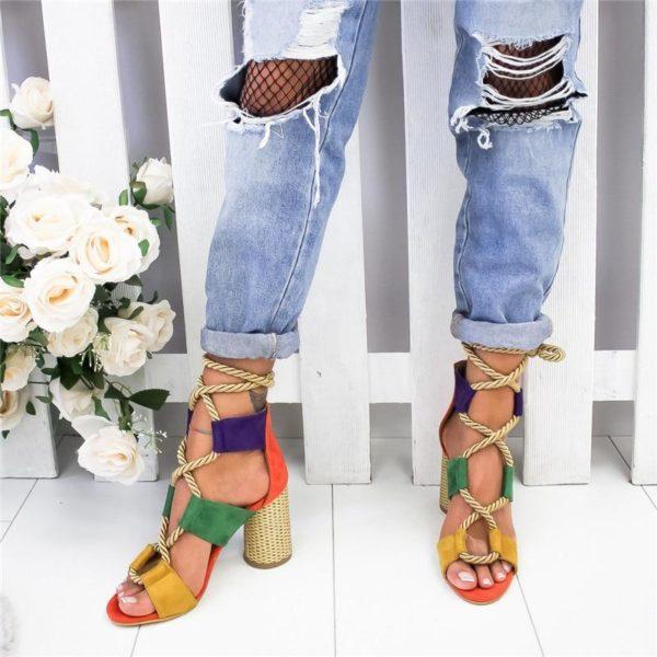sandalealacethaut Les Sandales Cuir À Lacets Pour Femme Au Look Casual Chic