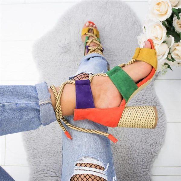 sandaleatalonlacet Les Sandales Cuir À Lacets Pour Femme Au Look Casual Chic
