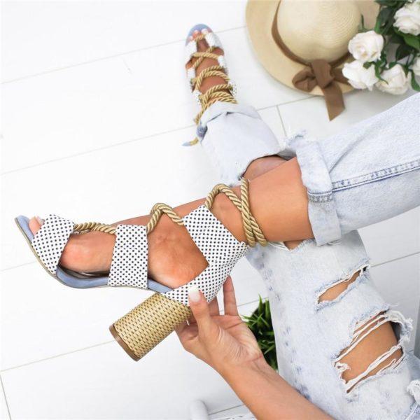 sandalesatalons Les Sandales Cuir À Lacets Pour Femme Au Look Casual Chic