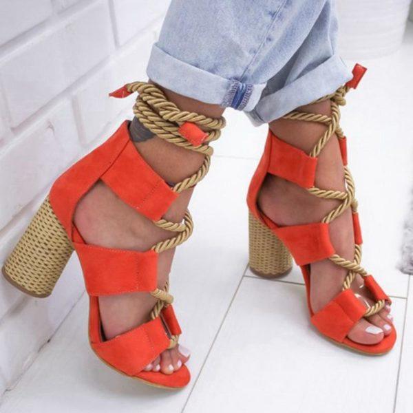 sandalestalonscarres Les Sandales Cuir À Lacets Pour Femme Au Look Casual Chic