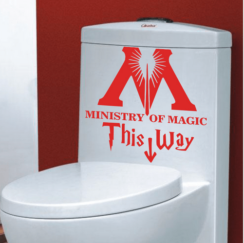 """t4 Autocollant """"Ministry Of Magic - This Way"""" Pour Toilettes"""